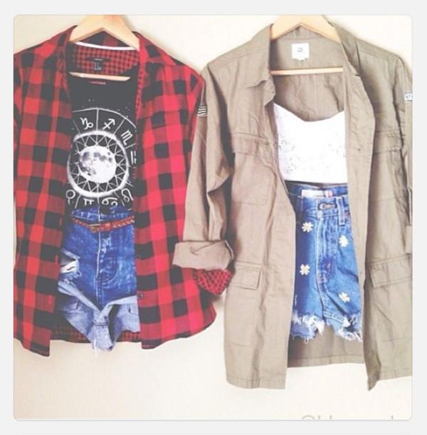 shirt red flannel shirt red flannel shirt High waisted shorts crop tops shorts blouse army green jacket jacket