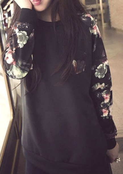 sweater flowers crewneck crewneck hoodie pullover floral floral shirt
