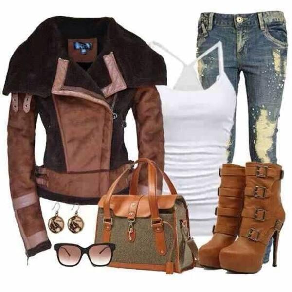 jacket shoes bag jeans tank top