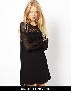 ASOS | ASOS Swing Dress With Lace Inserts at ASOS
