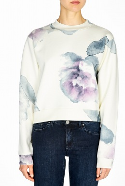 Acne | Flower Print Cropped Sweatshirt by Acne