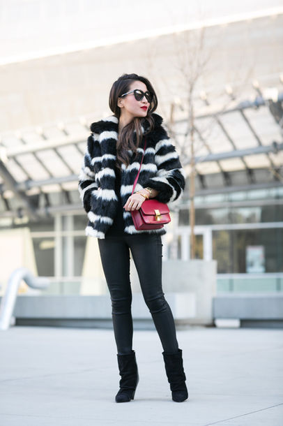 wendy's lookbook blogger sunglasses faux fur jacket stripes red bag skinny pants black boots winter outfits striped jacket striped coat printed fur jacket