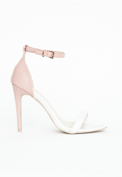 Nadia Contrast Heeled Sandals In Nude - Footwear - Sandals - Missguided