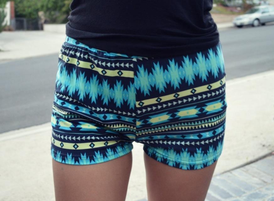 Blue Aztec Shorts - Nerdy Youth