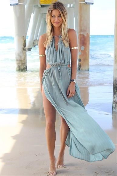 Khaki Maxi Summer Drawstring Dress | RubyLiu Boutique