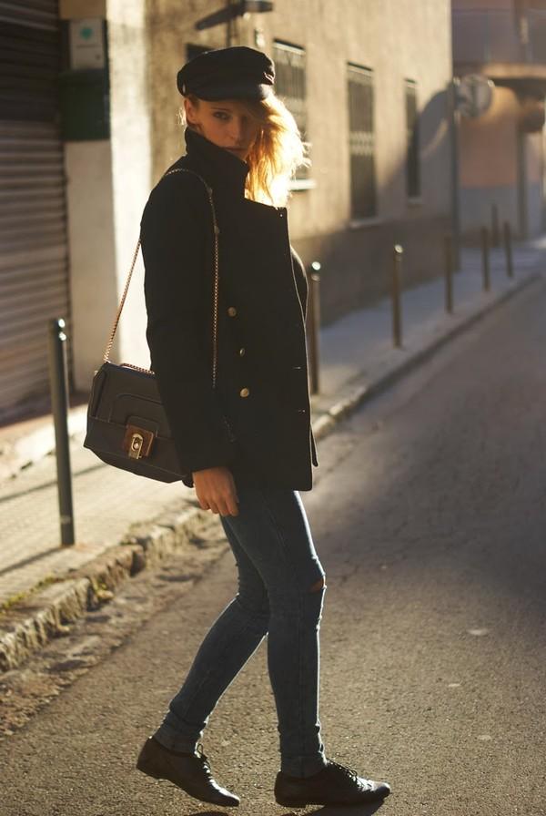 vintage process coat jeans bag shoes hat