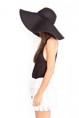 hat black large black hat