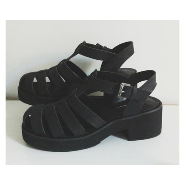 shoes grunge sandals black shoes summer shoes black heels jellies mid heel sandals black sandals matte tumblr wedge sandals wedges leather black wedges