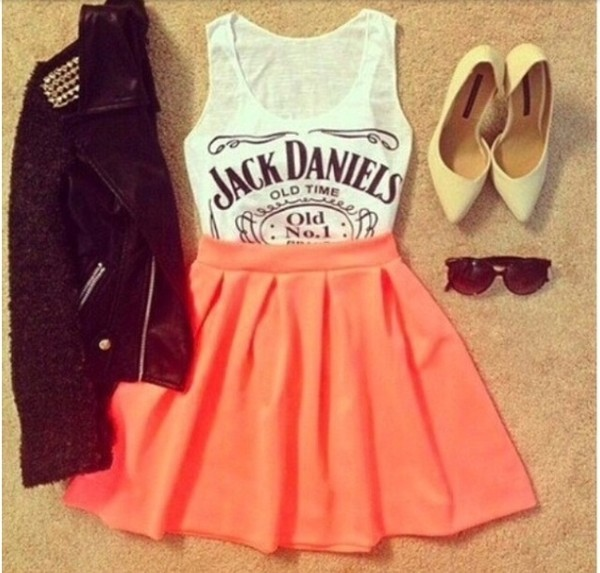 skirt orange top jack daniels shirt heels sunglasses jacket leather shirt tank top