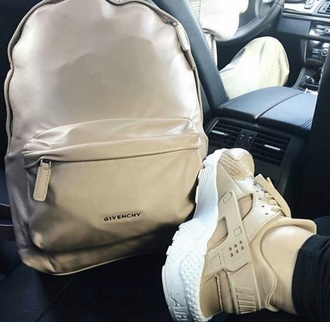 bag givenchy givenchy bag nude tan backpack shoes nike nike shoes go to school beige marron brown school bag huarache nude sneakers