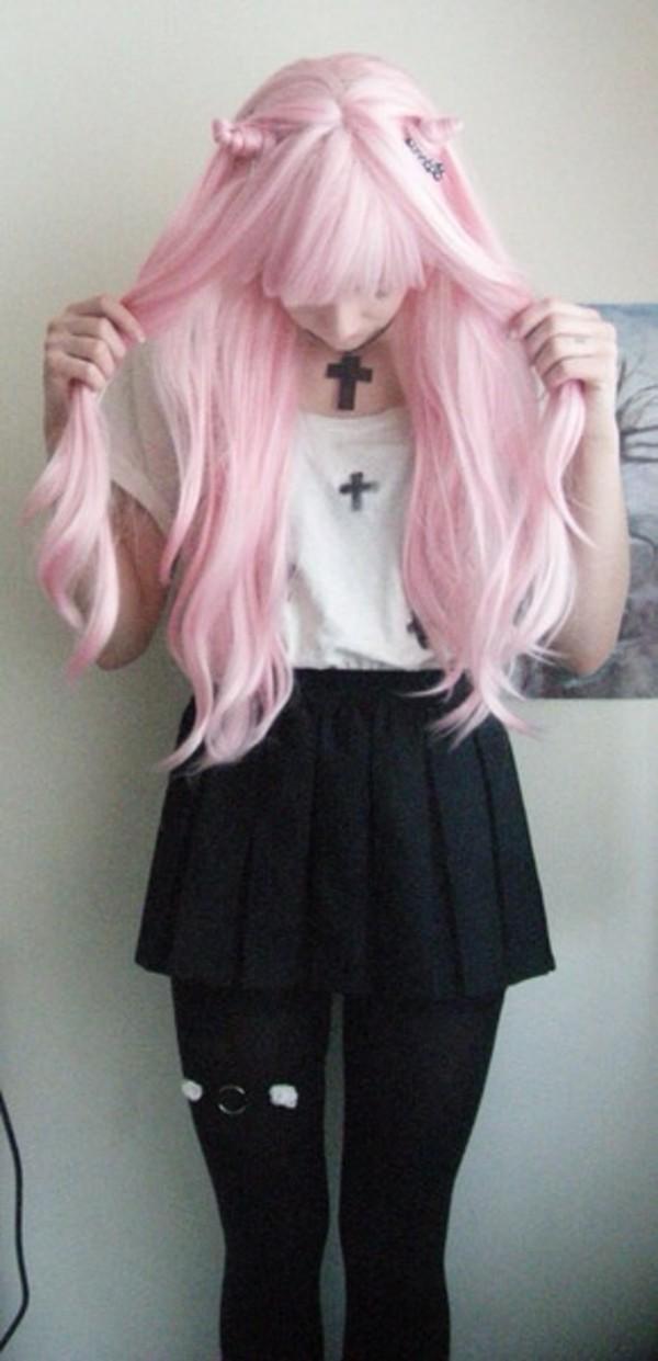 blouse crosses goth white black shirt cross kawaii cute creepy skirt tights lace spikes underwear jewels