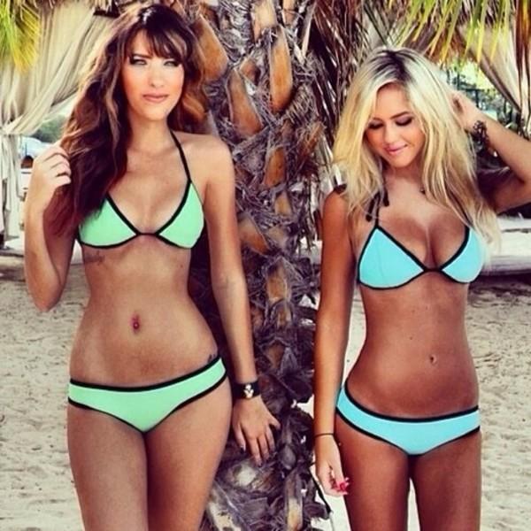 swimwear light blue pink summer green light green black