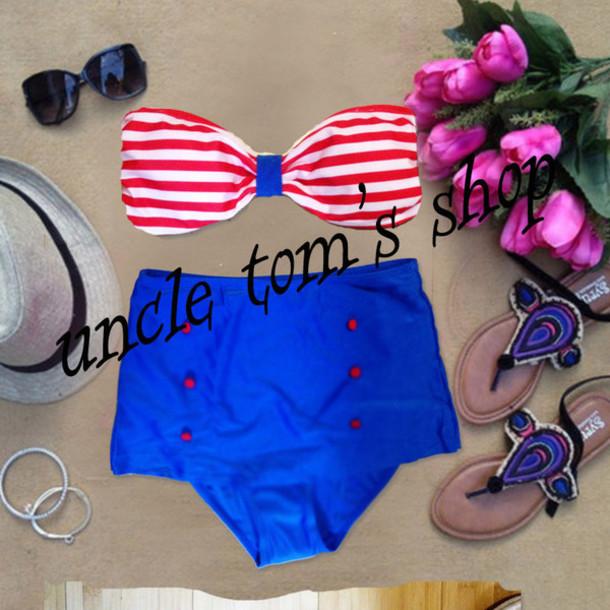 swimwear navy bikini high waisted bikini vintage swimsuit vintage swimwear high waist bathing suit women bikini red dress retro swimwear