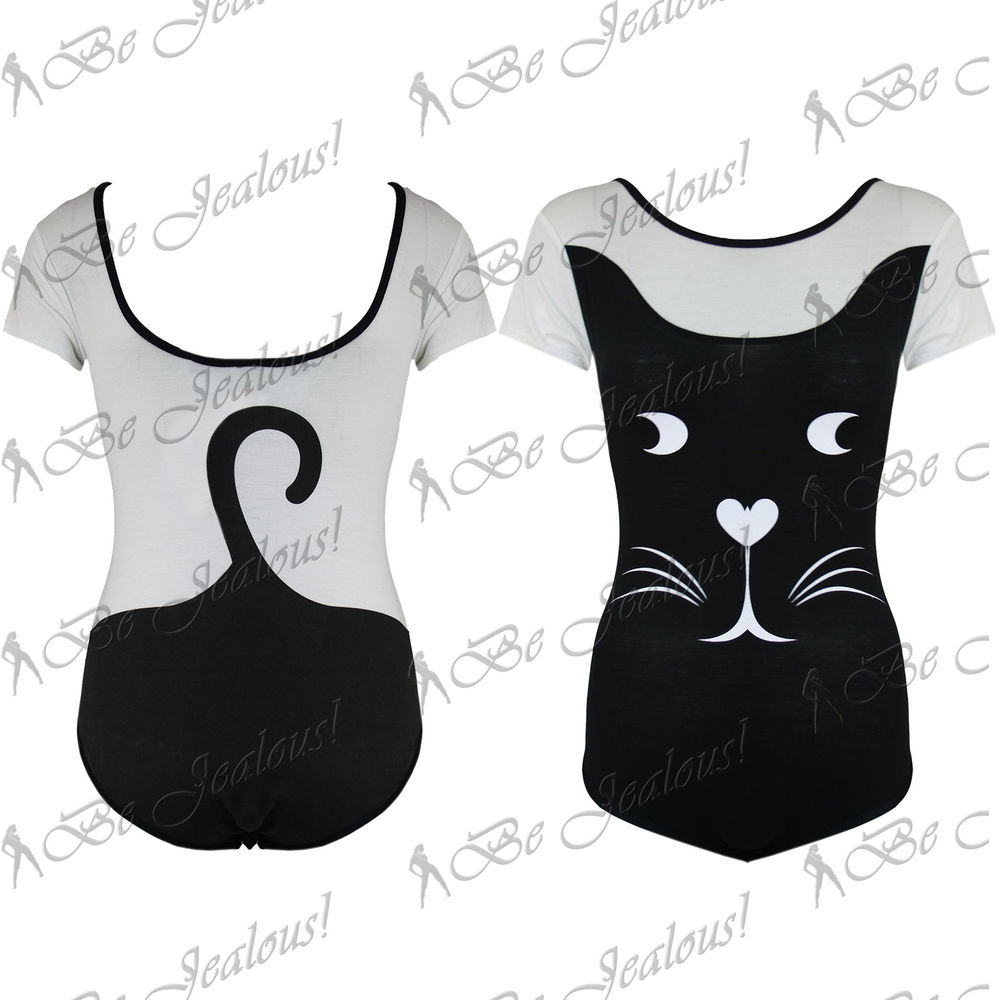 Ladies Stretchy New Womens Cat Face Short Sleeves One Leotard Piece Bodysuit Top | eBay