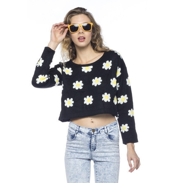 sweater sunny days daisy floral flowers black yellow crop makeup table vanity row dress to kill