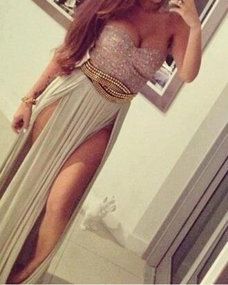 slit skirt sleeveless dress sequin dress sequins waist belt