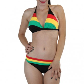 ToBeInStyle Women's Two Piece Jamaica Stripes Colors Bikini Set