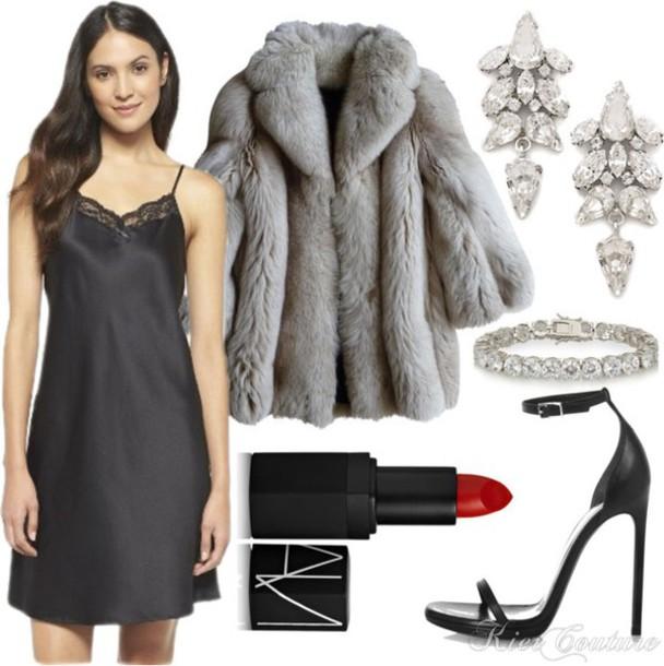 fashion addict blogger make-up earrings nightie sandals faux fur red lipstick dress shoes jewels coat slip satin dress