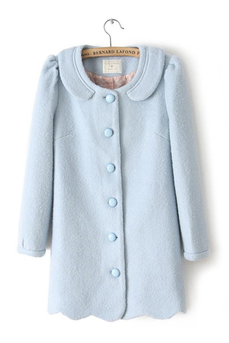Doll Collar Woolen Wavy Edge Overcoat,Cheap in Wendybox.com