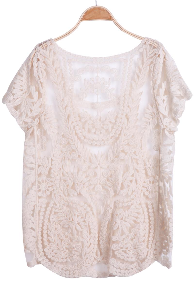 Apricot Short Sleeve Hollow Crochet Lace Top - Sheinside.com
