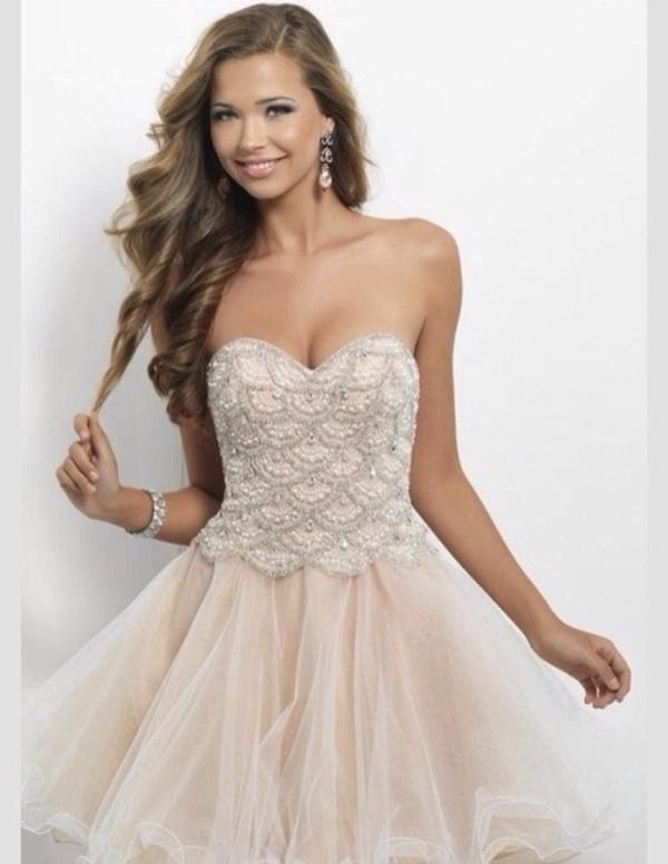 dress prom dress short prom dress prom pink cream pearl sequins toule ruffle