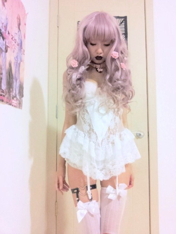 underwear cute underwear creepyyeha kawaii lolita babydoll dress lingerie lace pastel pastel goth stockings thigh highs cute lovely