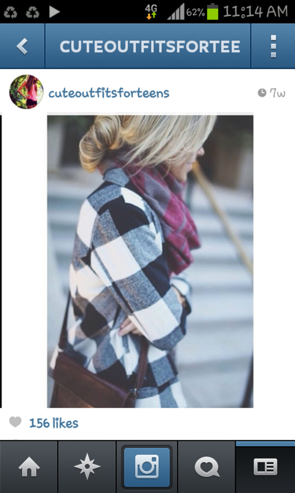 coat flannel plaid black and white