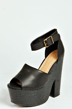 Lexi Croc Mock Peep Toe Ankle Strap Demi Wedge at boohoo.com