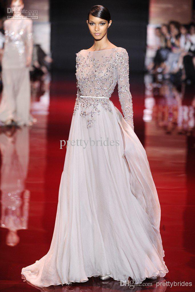 Wholesale Discount! New Arrival Elie Saab 2014 Bateau Sheer Neckline Appliqued Evening Dresses Floor Length See-Through Long Sleeve Prom Dresses E1631, Free shipping, $145.0/Piece | DHgate Mobile