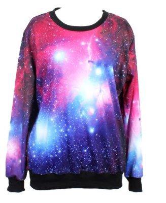 W&Hstore Womens Galaxy Space Painting Thin Sweater Sweatshirt Good Quality on Wanelo