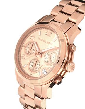 Michael Kors   Michael Kors Runway Rose Gold Chronograph Watch at ASOS
