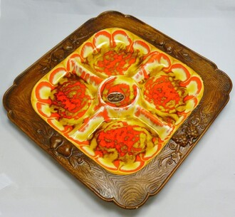 home accessory serving tray brown wood red yellow
