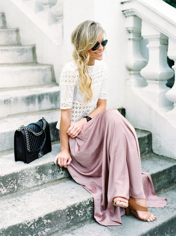 happily grey jacket top skirt shoes jewels sunglasses bag dusty pink mauve champagne maxi skirt long skirt and fashion t-shirt blouse top and skirt white white blouse shirt pink skirt nude white sweater blonde hair black quilt bag brown sandals embroidered quilted bag