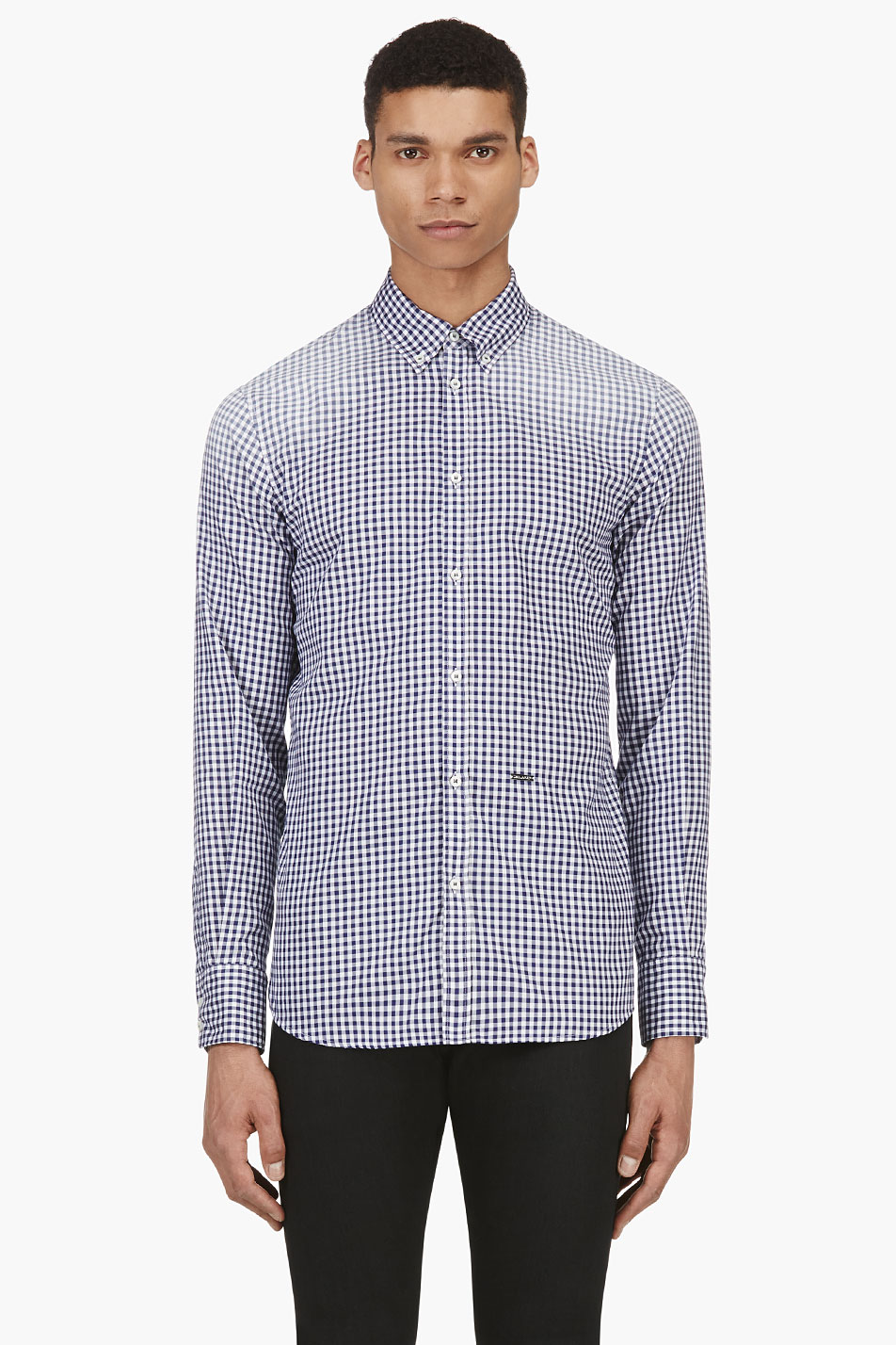 Dsquared2 blue gingham check button down shirt for Blue gingham button down shirt