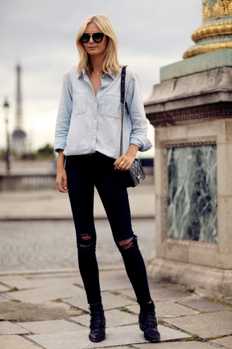 tuula blogger sunglasses bag denim shirt ripped jeans
