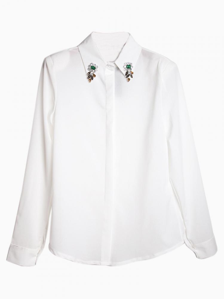 White Shirt with Beads Shirt Collar   Choies
