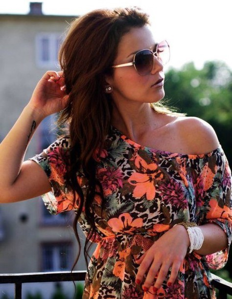 dress coral animal print fashion style summer dress