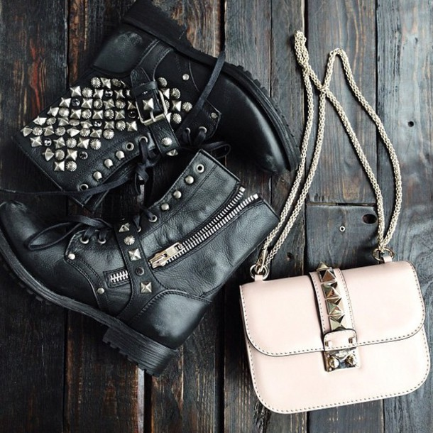 bag buckle boots black boots leather grunge punk rock boyish shoes boots black boots motorcycle boots leather boots spring outfit grunge