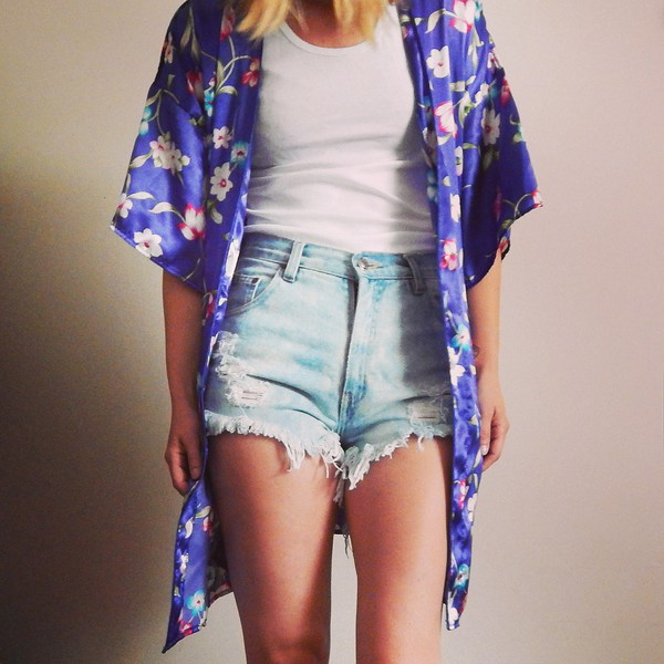 cardigan kimono kimono cover up shorts jeans denim shorts High waisted shorts tank top