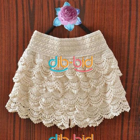 Lady Sweet Womens Shorts Cute Crochet Tiered Lace Shorts Skirts Short Pants | eBay