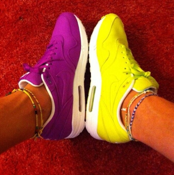 shoes nike air max yellow purple shoes