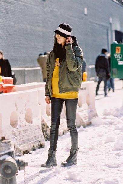 vanessa jackman blogger bomber jacket khaki hoodie leather pants mustard combat boots bucket hat dkny boyish winter swag army green jacket black leather pants hooded jacket Gender Neutral