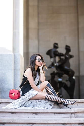 wendy's lookbook blogger bag sunglasses jewels sleeveless red bag mini bag lace up heels knee high maxi dress round sunglasses black vest