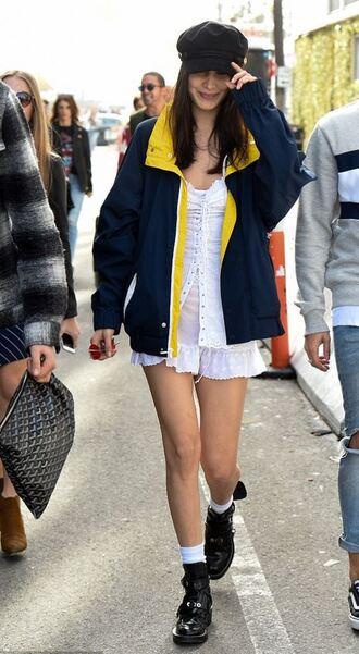 dress jacket bella hadid model off-duty ankle boots hat fisherman cap mini dress