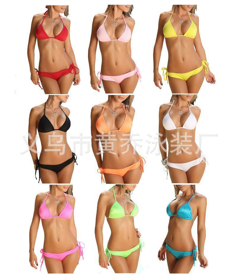 Women 's swimwear sexy bikini the bathing suits of women 2013  plus size bikini12 color candy colored swimwear free shipping-in Bikinis Set from Apparel & Accessories on Aliexpress.com