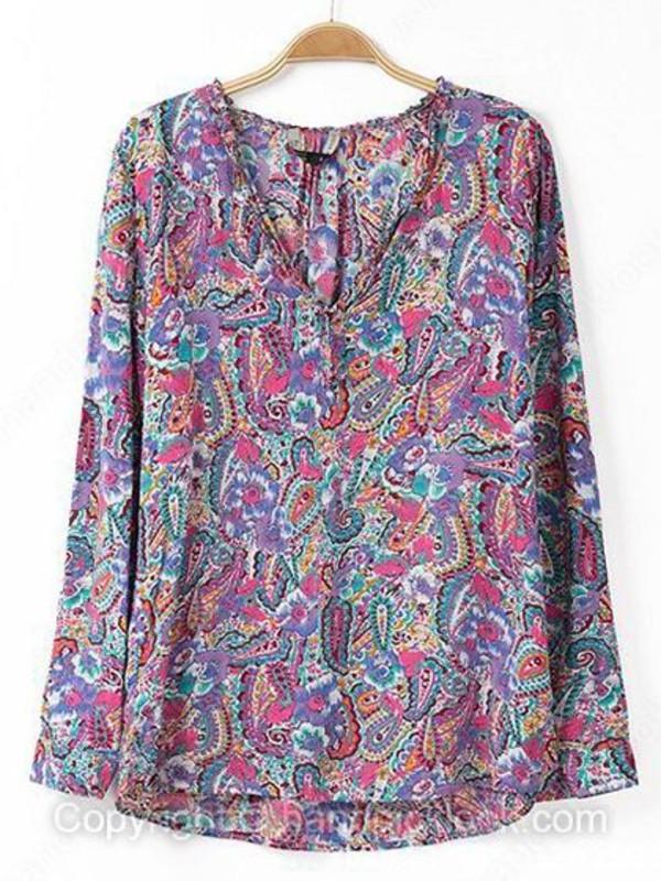 blouse tribal print blouse floral purple blouse printed blouse tribal pattern tribal print dress handpicklook.com