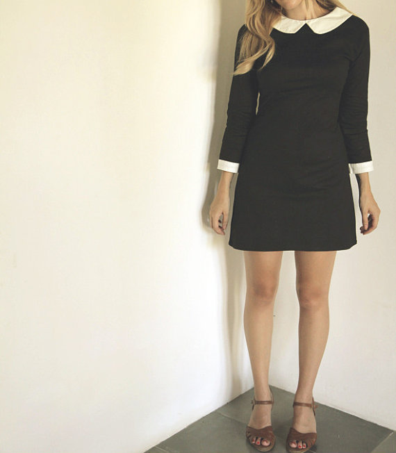 Wednesday Addams dress peter pan collar by FrenchieYork on Etsy