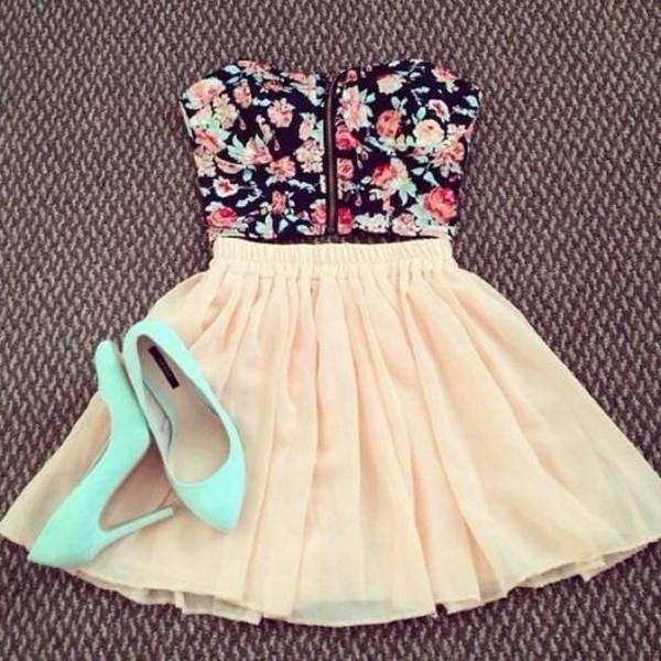 dress floral crop top light pink skirt blue heels skirt flowers