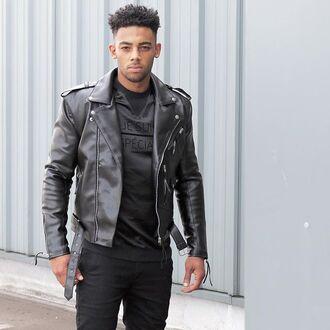 jacket maniere de voir leather biker classic black je suis faux 36683