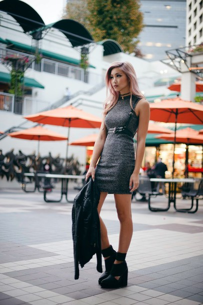 the blvck sheep blogger grey dress bodycon dress harness soft grunge dress jacket shoes